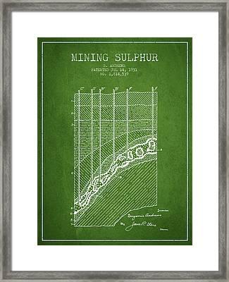 1931 Mining Sulphur Patent En38_pg Framed Print