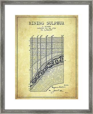 1931 Mining Sulphur Patent En38_vn Framed Print