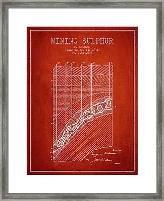 1931 Mining Sulphur Patent En38_vr Framed Print