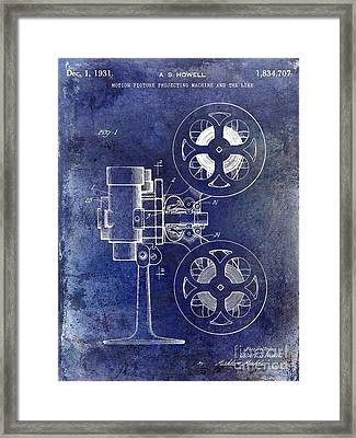 1931 Movie Projector Patent Blue Framed Print