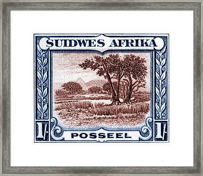 Framed Print featuring the painting 1931 South West African Landscape Stamp by Historic Image