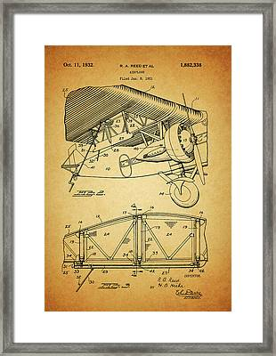 1932 Airplane Patent Framed Print