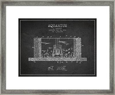 1932 Aquarium Patent - Charcoal Framed Print by Aged Pixel