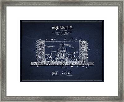 1932 Aquarium Patent - Navy Blue Framed Print by Aged Pixel