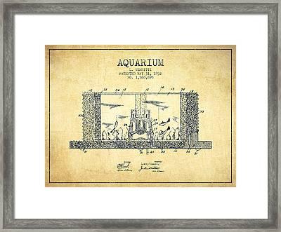 1932 Aquarium Patent - Vintage Framed Print by Aged Pixel