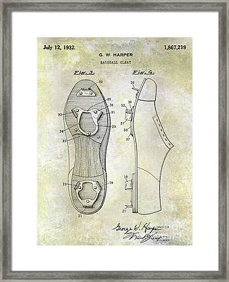 1932 Baseball Cleat Patent Blueprint Framed Print