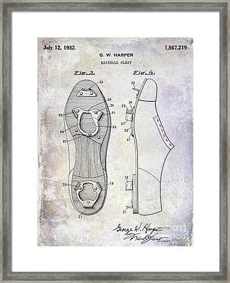 1932 Baseball Cleats Patent Framed Print