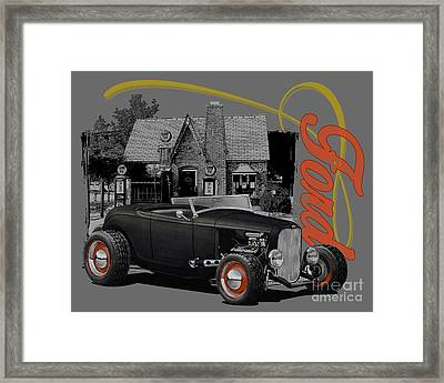 1932 Black Ford At Filling Station Framed Print
