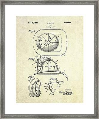 1932 Firefighter Helmet Patent Framed Print by Gary Bodnar