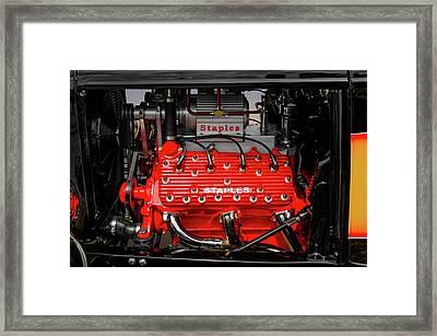 1932 Ford Coupe V8 Supercharged Flathead Engine Detail   -   1932fordv8flathead170318 Framed Print by Frank J Benz