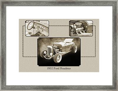 1932 Ford Roadster Sepia Posters And Prints 020.01 Framed Print by M K  Miller