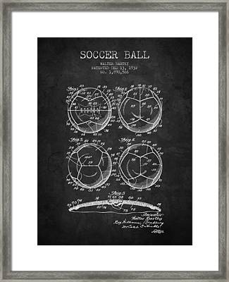 1932 Soccer Ball Patent Drawing - Charcoal - Nb Framed Print by Aged Pixel