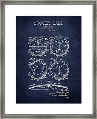 1932 Soccer Ball Patent Drawing - Navy Blue - Nb Framed Print by Aged Pixel