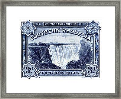 Framed Print featuring the painting 1932 Southern Rhodesia Victoria Falls Stamp by Historic Image
