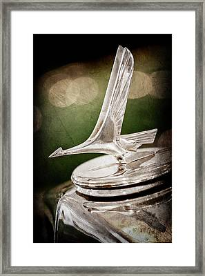 Framed Print featuring the photograph 1932 Studebaker Dictator Hood Ornament -0850ac by Jill Reger