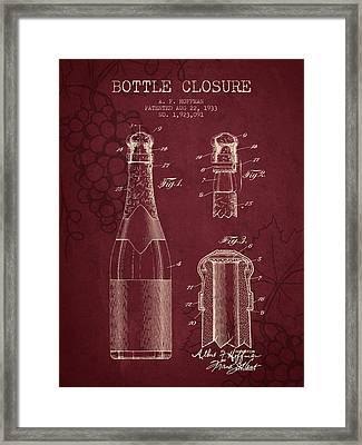 1933 Bottle Closure Patent - Red Wine Framed Print by Aged Pixel