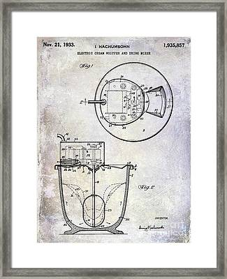 1933 Electric Cream Whipper Patent Framed Print