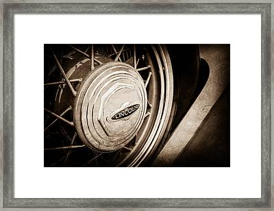 1933 Lincoln Kb Judkins Coupe Emblem - Spare Tire -0167s Framed Print by Jill Reger