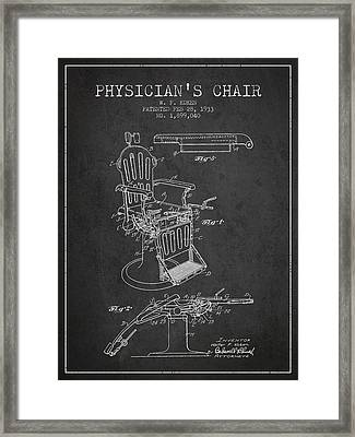 1933 Physicians Chair Patent - Charcoal Framed Print by Aged Pixel