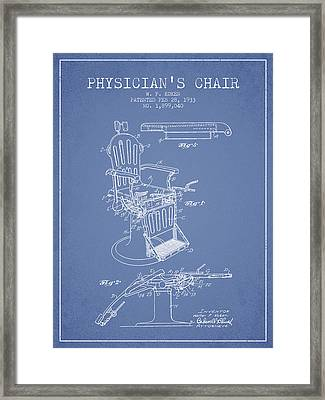 1933 Physicians Chair Patent - Light Blue Framed Print by Aged Pixel