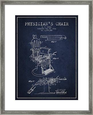 1933 Physicians Chair Patent - Navy Blue Framed Print by Aged Pixel