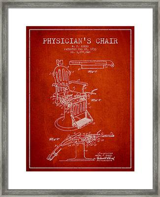 1933 Physicians Chair Patent - Red Framed Print by Aged Pixel
