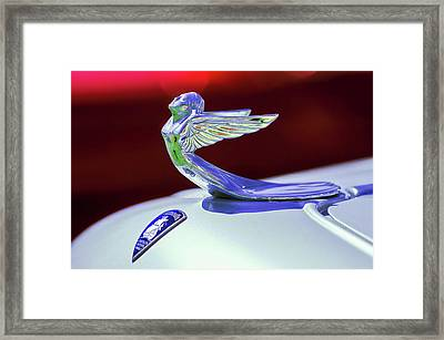 Framed Print featuring the photograph 1933 Plymouth Hood Ornament -0121rc by Jill Reger