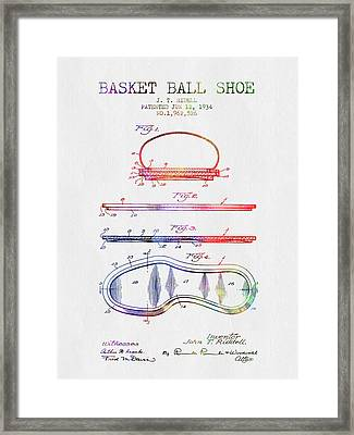 1934 Basket Ball Shoe Patent - Color Framed Print
