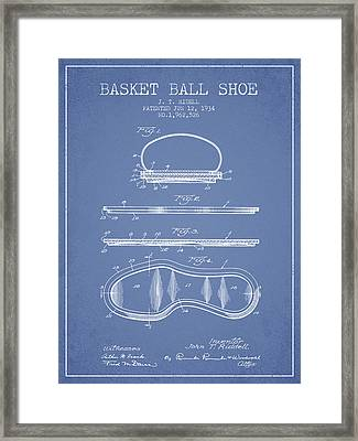 1934 Basket Ball Shoe Patent - Light Blue Framed Print