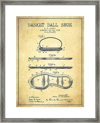 1934 Basket Ball Shoe Patent - Vintage Framed Print