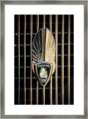 1934 Plymouth Emblem Framed Print by Jill Reger