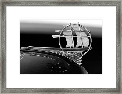1934 Plymouth Hood Ornament Black And White Framed Print by Jill Reger