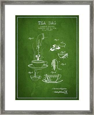 1934 Tea Bag Patent - Green Framed Print