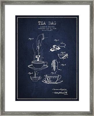 1934 Tea Bag Patent - Navy Blue Framed Print