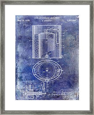 1935 Beer Equipment Patent Blue Framed Print by Jon Neidert