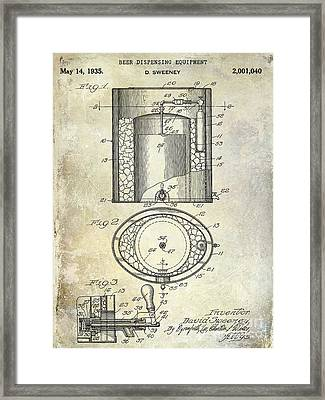 1935 Beer Equipment Patent  Framed Print by Jon Neidert