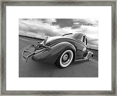 1935 Ford Coupe In Black And White Framed Print by Gill Billington