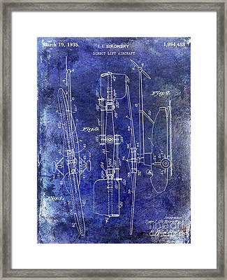 1935 Helicopter Patent Blue Framed Print by Jon Neidert