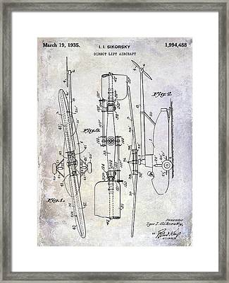 1935 Helicopter Patent  Framed Print by Jon Neidert