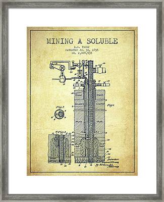 1935 Mining A Soluble Patent En39_vn Framed Print