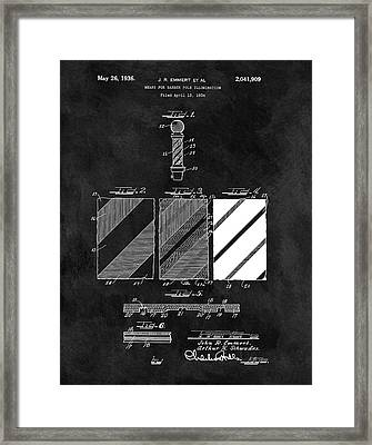 1936 Barber Pole Blueprint Framed Print by Dan Sproul