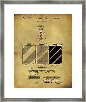 1936 Barber Pole Patent Framed Print by Dan Sproul