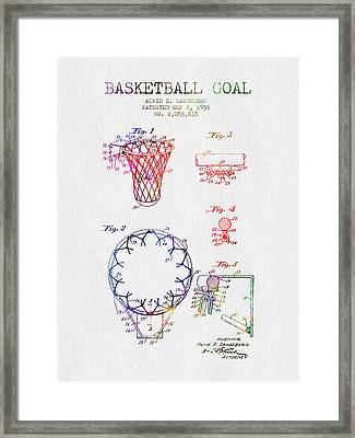 1936 Basketball Goal Patent - Color Framed Print by Aged Pixel