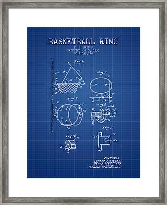 1936 Basketball Ring Patent - Blueprint Framed Print