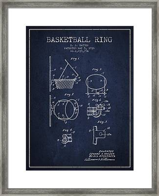 1936 Basketball Ring Patent - Navy Blue Framed Print by Aged Pixel