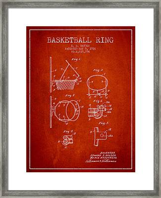 1936 Basketball Ring Patent - Red Framed Print by Aged Pixel