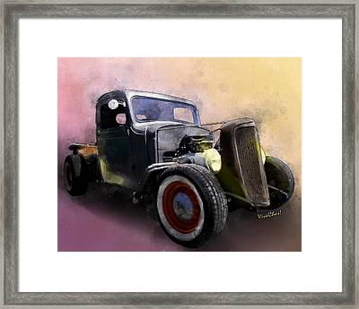 1936 Chevy Rat Rod Pickup Watercolour Framed Print