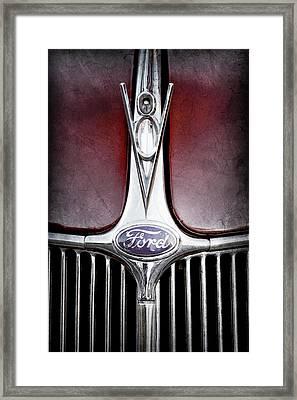1936 Ford Phaeton V8 Hood Ornament - Emblem -0255ac Framed Print by Jill Reger