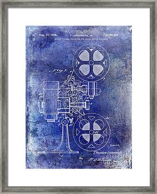 1936 Movie Projector Patent Blue Framed Print