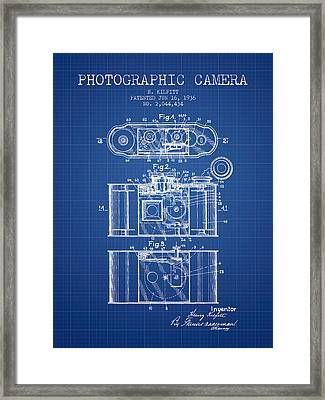 1936 Photographic Camera Patent - Blueprint Framed Print by Aged Pixel